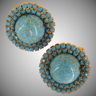 CARNEGIE Vintage Earrings, Large Glass 'Stone' Matrix  pre-1955