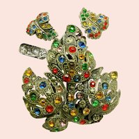 ~Little Nemo-LN/25 Pin Clip 'n Earrings ~ Art Deco Rare ~ Jewel-tone Rhinestones~