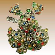 Little Nemo LN/25 Art Deco Pin Clip & Earrings w/ Jewel-tone Rhinestones