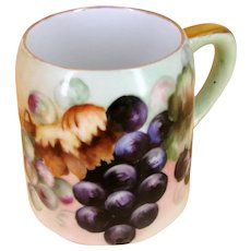 ~Antique circa 1900~ Hand Painted German Porcelain ~GRAPE CLUSTERS MUG~