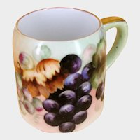 Antique c.1900 ~Hand Painted German Porcelain ~GRAPE CLUSTERS MUG