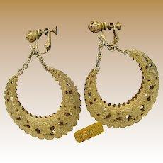 MIRIAM HASKELL Earrings Vintage Filigree Hoops, 2 3/4 In. Long