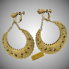 MIRIAM HASKELL Earrings Vintage Filigree Hoops, 2 3/4 In. Long