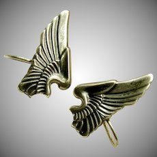 Sterling WWII SWEETHEART Earrings, Army Air Corp Pilot Wings c.1940's