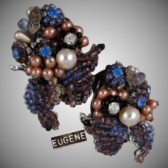 EUGENE Vintage Lg. Earrings w/ All Glass Rainbow Palette