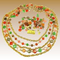 Vintage VOGUE JLRY Art Glass Necklace 'n Pendant Earrings