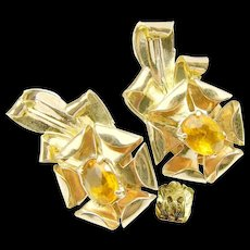 c.1930's McCLELLAND BARCLAY Sterling Earrings w/ Glass Citrine