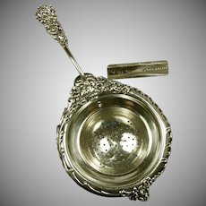 REED BARTON Sterling Chrysanthemum Tea Strainer c.1903