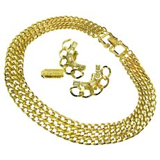 Vintage Curb Chain REINAD Rhinestone Climber Earrings 'n Necklace c.1950's