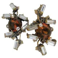MIRIAM HASKELL Bookpiece Earrings, Glass Amber 'n Rhinestone c.1940's