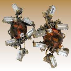 Rare 1940's MIRIAM HASKELL Earrings, Glass Amber 'n Rhinestone Bookpiece