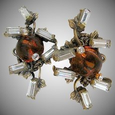 MIRIAM HASKELL Bookpiece Earrings, Glass Amber 'n Rhinestone c.1940's