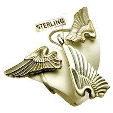 c.1940's Sterling Earrings, Pendant w/Chain ~WWII SWEETHEART ~Army Air Corp Pilot Wings