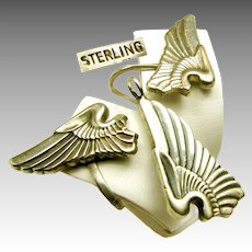 WWII Army Pilot Wings Sterling Pendant, Chain 'n Earrings