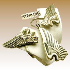 WWII Army Pilot Wings Sterling Pendant, Chain 'n Earrings