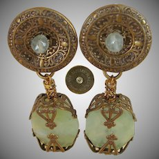 JAN MICHAELS of SAN FRANCISCO's Vintage Chinoiserie Earrings, Brass 'n Stone