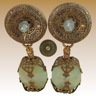 JAN MICHAELS of SAN FRANCISCO's Vintage Chinoiserie Earrings, Brass 'n Stone