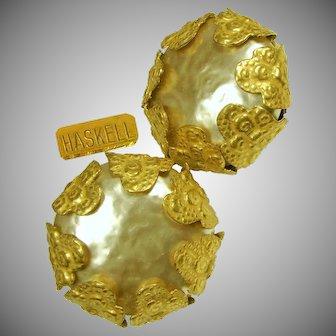 Vintage MIRIAM HASKELL Lg. Mobe Glass Pearl Earrings Encased In Russian Gilt