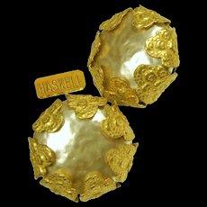Vintage MIRIAM HASKELL Mobe Glass Pearl Earrings Encased Russian Gilt