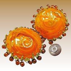 MIRIAM HASKELL Vintage Earrings, Art Glass Haloed w/ Root Beer Drops