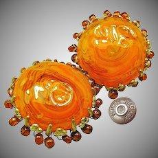 Vintage MIRIAM HASKELL Art Glass Earrings Haloed w/ Drops