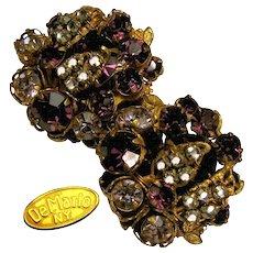 Vintage DE MARIO N.Y. Amethyst Glass Earrings 'n Rose Montee