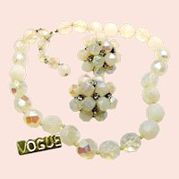 VOGUE JLRY Vintage Opalescent Glass Necklace w/ Rhinestone Earrings c.1950's