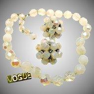 Vintage VOGUE JLRY Opalescent Glass Necklace w/ Rhinestone Earrings c.1950's