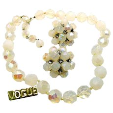 Vintage VOGUE JLRY Opalescent Glass Necklace w/ Rhinestone Earrings c.1950's