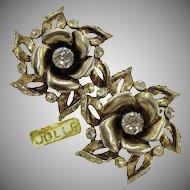 Hess-Appel / Jollé Vintage Lg. Earrings, Gold Over Sterling ROSE Blossom c.1940's