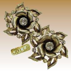 Hess-Appel / Jollé Vintage Earrings, Gold Over Sterling ROSE Blossom c.1940's