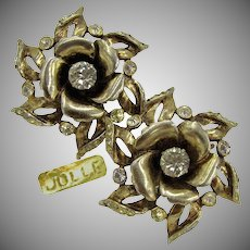 Hess-Appel / Jollé Vintage Earrings, Gold Over Sterling ROSE Blossom c.1940's