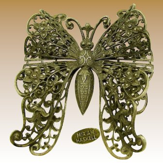 MIRIAM HASKELL Vintage Brooch, Antique Silver Butterfly
