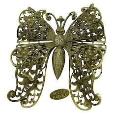 MIRIAM HASKELL Vintage Butterfly Brooch, Antique Silver Filigree