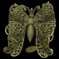 Miriam HASKELL Large BUTTERFLY Brooch, Dimensional Gilt Filigree