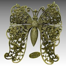 Miriam Haskell Vintage BUTTERFLY BROOCH of Dimensional Filigree