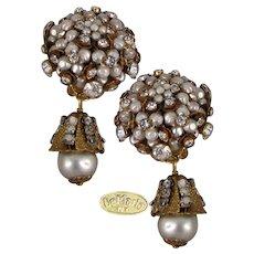 DeMARIO NY Vintage Earrings Lg. Rhinestone Glass Pearl Clusters w/ Drops, Boxed