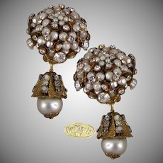 DeMARIO NY Vintage Earrings Lg. Rhinestone Glass Pearl Clusters w/ Drops, Boxed