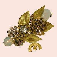 ~MIRIAM HASKELL Brooch ~ Purple Glass 'n Russian Gilt ~ Vintage Horseshoe Mark~