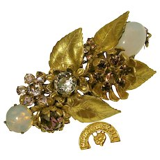 Miriam Haskell Vintage Floral Brooch, Purple Glass 'n Brass