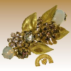 Miriam Haskell Vintage Brooch, Floral Purple Glass 'n Brass