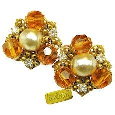 Vintage Gilt ROBERT Rhinestone EARRINGS w/ Glass Pearls c.1950's