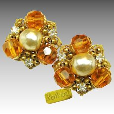 Vintage Gilt ROBERT Rhinestone EARRINGS w/ Glass Pearls c.1950's