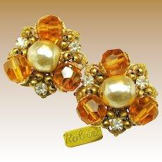 ROBERT Vintage EARRINGS Rhinestone w/ Glass Pearls c.1950's