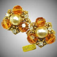 Vintage ROBERT Glass Pearl EARRINGS w/ Rhinestones 'n Glass c.1950's