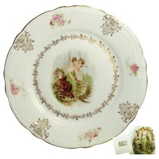 2- Art Nouveau CHERUB Cabinet Plates w/ Gilt 'n Classical Maidens c.1900