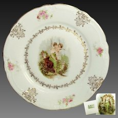 Pair Art Nouveau CHERUB Cabinet Plates w/ Classical Maidens c.1900