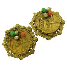 Miriam Haskell Vintage Earrings, Chinoiserie Figural Design