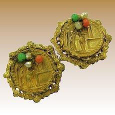 Miriam Haskell Vintage Earrings, Chinoiserie Figural Design
