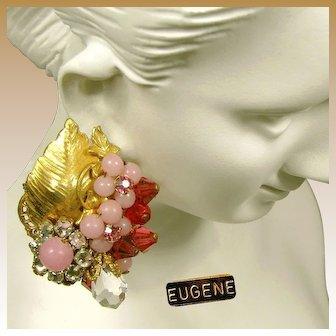 EUGENE Vintage c.1950's Earrings, Pink Art Glass w/ Rose Montee